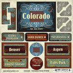 Scrapbook Customs - United States Collection - Colorado - Distressed Cardstock Stickers