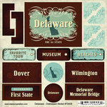 Scrapbook Customs - United States Collection - Delaware - Distressed Cardstock Stickers