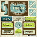 Scrapbook Customs - United States Collection - Florida - Distressed Cardstock Stickers