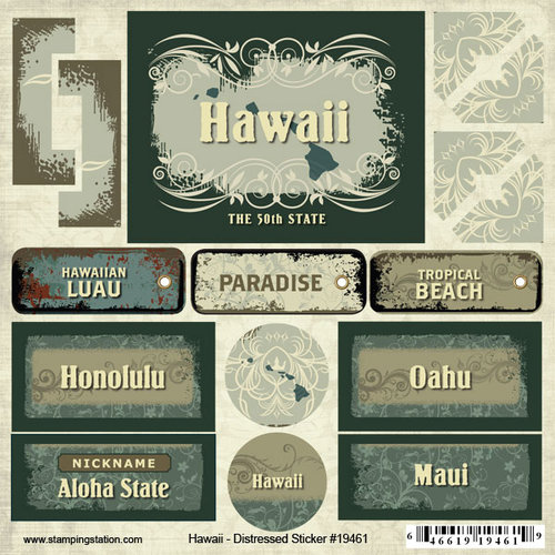 Scrapbook Customs - United States Collection - Hawaii - Distressed Cardstock Stickers