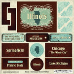 Scrapbook Customs - United States Collection - Illinois - Distressed Cardstock Stickers