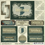 Scrapbook Customs - United States Collection - Indiana - Distressed Cardstock Stickers