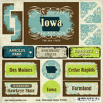 Scrapbook Customs - United States Collection - Iowa - Distressed Cardstock Stickers