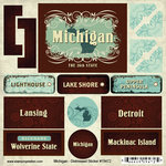 Scrapbook Customs - United States Collection - Michigan - Distressed Cardstock Stickers