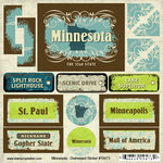 Scrapbook Customs - United States Collection - Minnesota - Distressed Cardstock Stickers