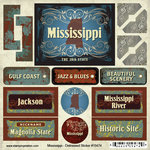 Scrapbook Customs - United States Collection - Mississippi - Distressed Cardstock Stickers