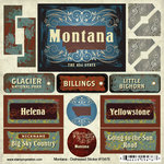 Scrapbook Customs - United States Collection - Montana - Distressed Cardstock Stickers