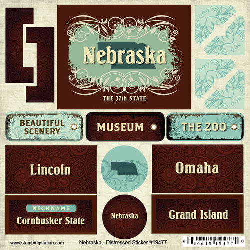 Scrapbook Customs - United States Collection - Nebraska - Distressed Cardstock Stickers