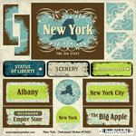 Scrapbook Customs - United States Collection - New York - Distressed Cardstock Stickers