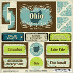 Scrapbook Customs - United States Collection - Ohio - Distressed Cardstock Stickers