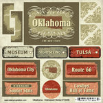Scrapbook Customs - United States Collection - Oklahoma - Distressed Cardstock Stickers