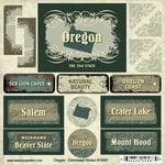 Scrapbook Customs - United States Collection - Oregon - Distressed Cardstock Stickers