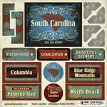 Scrapbook Customs - United States Collection - South Carolina - Distressed Cardstock Stickers