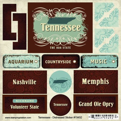 Scrapbook Customs - United States Collection - Tennessee - Distressed Cardstock Stickers