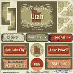 Scrapbook Customs - United States Collection - Utah - Distressed Cardstock Stickers
