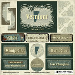 Scrapbook Customs - United States Collection - Vermont - Distressed Cardstock Stickers