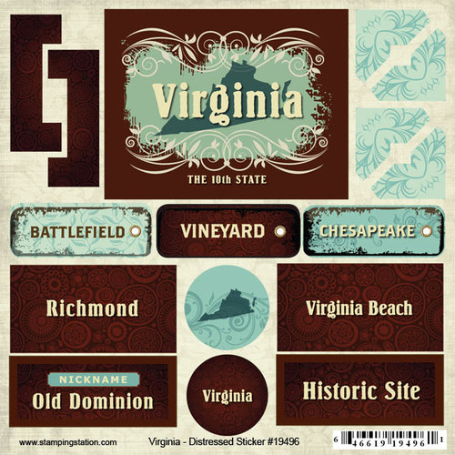 Scrapbook Customs - United States Collection - Virginia - Distressed Cardstock Stickers