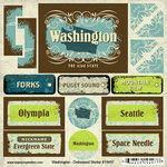 Scrapbook Customs - United States Collection - Washington - Distressed Cardstock Stickers