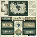 Scrapbook Customs - United States Collection - Washington DC - Distressed Cardstock Stickers