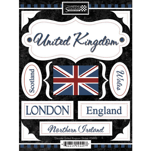 Scrapbook customs world collection united kingdom cardstock stickers discover