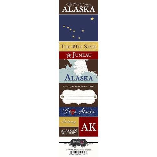 Scrapbook Customs - United States Collection - Alaska - Cardstock Stickers - Chic