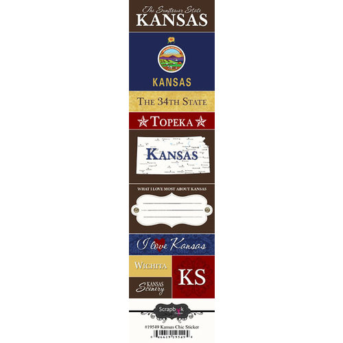 Scrapbook Customs - United States Collection - Kansas - Cardstock Stickers - Chic