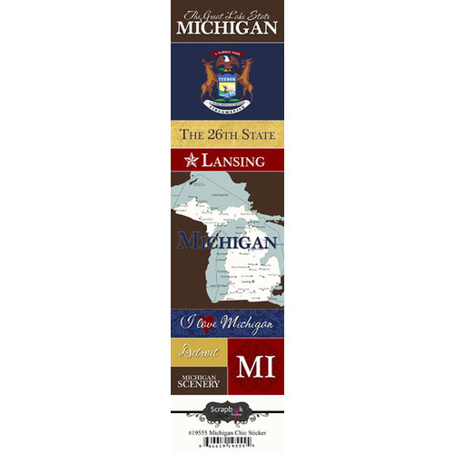 Scrapbook Customs - United States Collection - Michigan - Cardstock Stickers - Chic