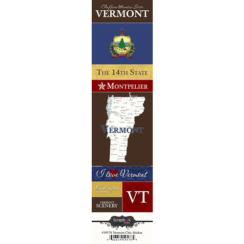 Scrapbook Customs - United States Collection - Vermont - Cardstock Stickers - Chic