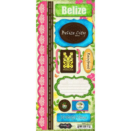 Scrapbook Customs - World Collection - Belize - Cardstock Stickers - Paradise
