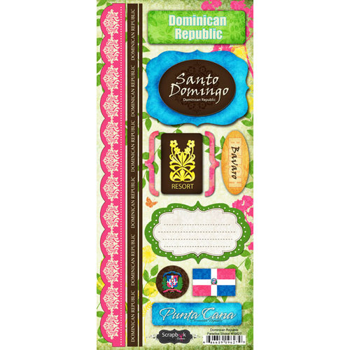 Scrapbook Customs - World Collection - Dominican Republic - Cardstock Stickers - Paradise