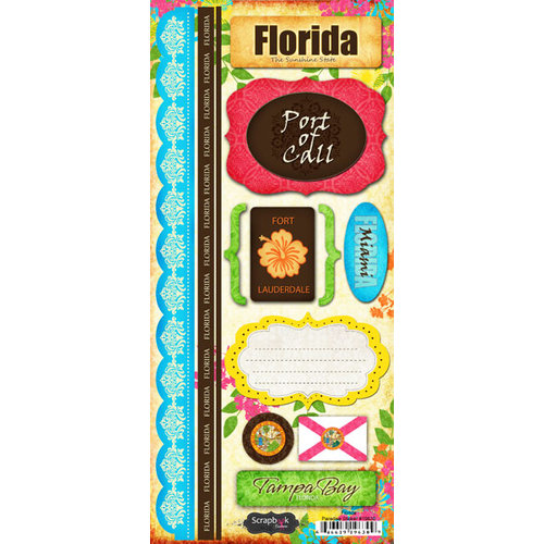 Scrapbook Customs - World Collection - USA - Florida - Cardstock Stickers - Paradise