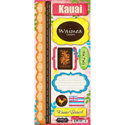 Scrapbook Customs - World Collection - USA - Hawaii - Cardstock Stickers - Kauai - Paradise