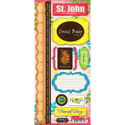 Scrapbook Customs - World Collection - Virgin Islands - Cardstock Stickers - St. John - Paradise