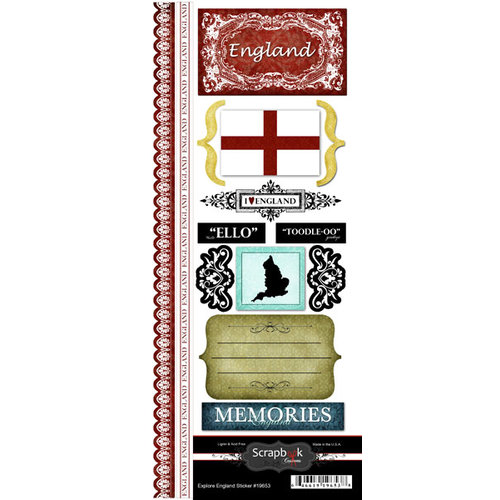 Scrapbook Customs - World Collection - England - Cardstock Stickers - Explore