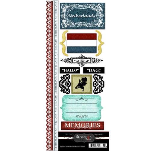 Scrapbook Customs - World Collection - Netherlands - Cardstock Stickers - Explore