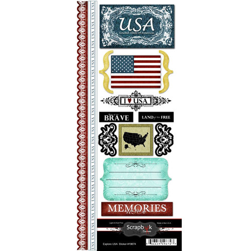 Scrapbook Customs - World Collection - USA - Cardstock Stickers - Explore