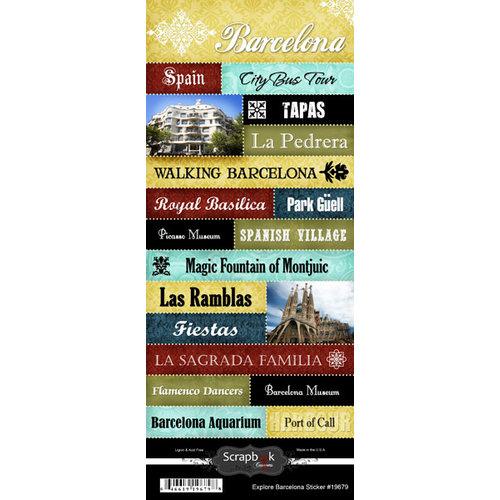 Scrapbook Customs - World Collection - Spain - Cardstock Stickers - Explore - Barcelona