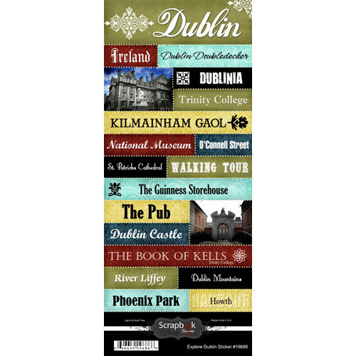 Scrapbook Customs - World Collection - Ireland - Cardstock Stickers - Explore - Dublin