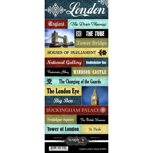 Scrapbook Customs - World Collection - England - Cardstock Stickers - Explore - London