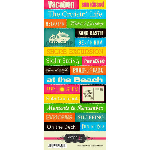 Scrapbook Customs - Travel Collection - Paradise - Cardstock Stickers - Words