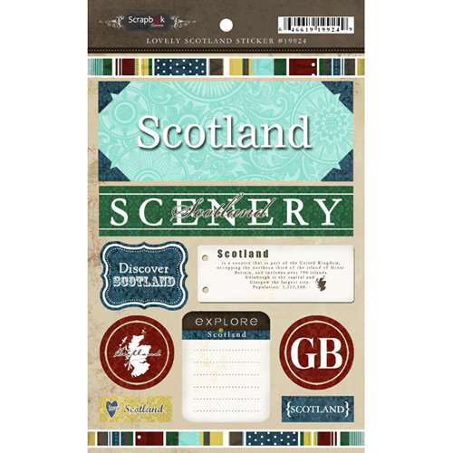 Scrapbook Customs - World Collection - Scotland - Cardstock Stickers - Exploring