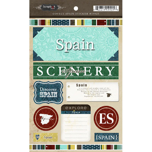 Scrapbook Customs - World Collection - Spain - Cardstock Stickers - Exploring