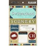 Scrapbook Customs - World Collection - Switzerland - Cardstock Stickers - Exploring