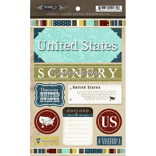 Scrapbook Customs - World Collection - USA - Cardstock Stickers - Exploring