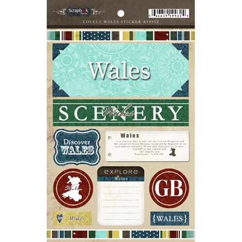 Scrapbook Customs - World Collection - Wales - Cardstock Stickers - Exploring