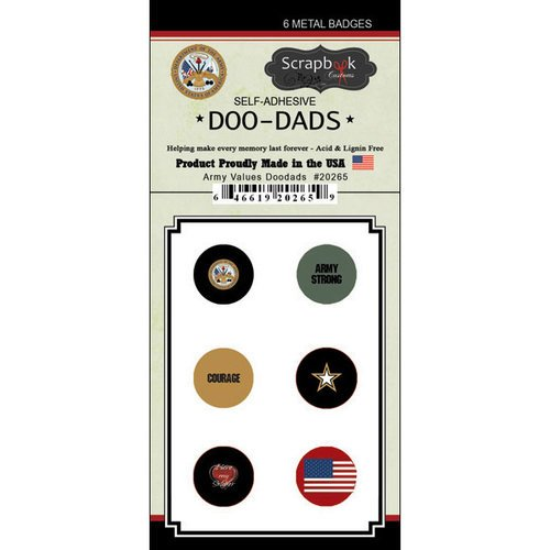Scrapbook Customs - Military Collection - Doo Dads - Self Adhesive Metal Badges - Army Values