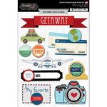 Scrapbook Customs - Travel Photo Journaling Collection - Doo Dads - Self Adhesive Metal Badges - State Journal Doo Dads