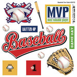 Scrapbook Customs - Sports Pride Collection - Doo Dads - Self Adhesive Metal Badges - Baseball