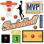 Scrapbook Customs - Sports Pride Collection - Doo Dads - Self Adhesive Metal Badges - Basketball