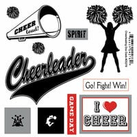 Scrapbook Customs - Sports Pride Collection - Doo Dads - Self Adhesive Metal Badges - Cheerleading